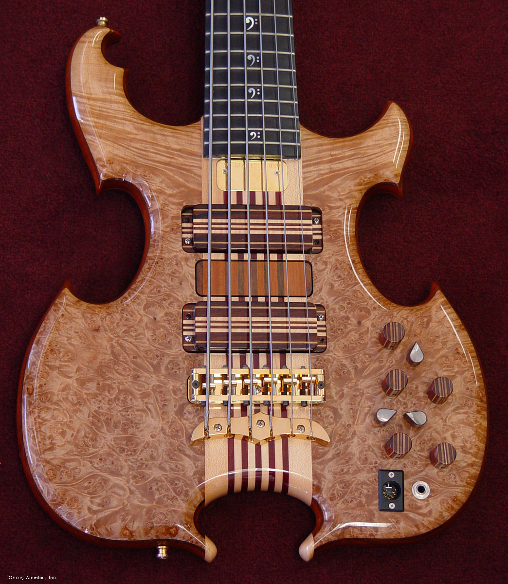Alembic Series Ii Bass Custom Jazz Mod Master Volume Tone And Balance Control 5a Quilted Maple Burl