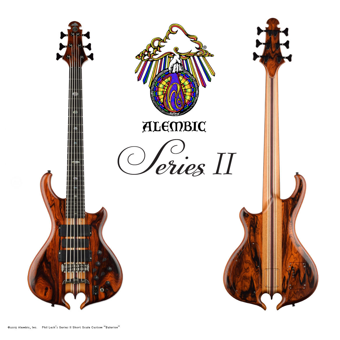 Alembic Series Ii Bass Custom Jazz Mod Master Volume Tone And Balance Control Short Scale In Coco Bolo