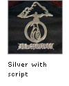 Silver logo with script